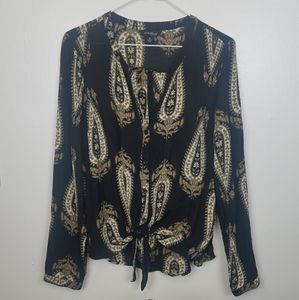 Lucky Brand Paisley Tie Front Top
